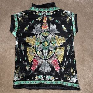 Tops - Oriental design short sleeve green & black  top